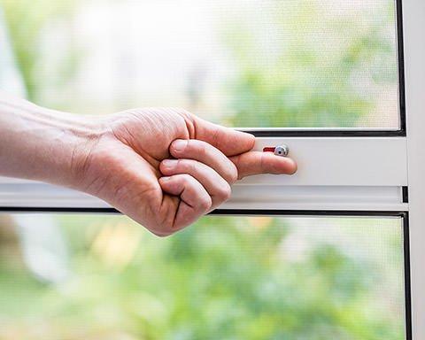 Hand an einer Fliegengittertür-Verriegelung